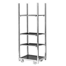 Flower Display Stand - Flower Trolley Galvanized with 3 Shelves (71.5X56.5x190cmH)