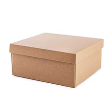 Cardboard Gourmet Box - Hamper Box Rectangle Large and Lid Brown Kraft (33x30x15cmH)