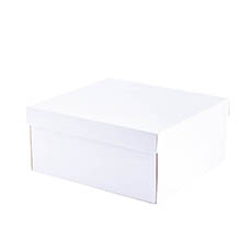 Cardboard Gourmet Box - Hamper Box Rectangle Large and Lid White (33x30x15cmH)
