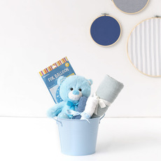 Baby Hampers - Baby Hamper Toby in Bucket Baby Blue