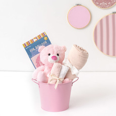 Baby Hampers - Baby Hamper Toby in Bucket Baby Pink