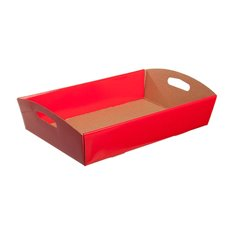 Cardboard Hamper Tray - Hamper Tray Flat Pack Medium Red (34x22x7cmH)