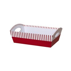 Cardboard Hamper Tray - Hamper Tray Rigid Large Stripe Red (33x23x12cmH)