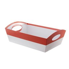 Hamper Tray Rigid Large Red on White (33x23x12cmH)