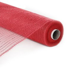 Plain Mesh Wrap - Mesh Metallic Thread Roll Red (54cmx9.1m)