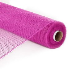 Plain Mesh Wrap - Mesh Metallic Thread Roll Pink (54cmx9.1m)