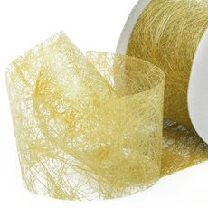 Nonwoven Floral Decor Ribbon - Nonwoven Ribbon Italian Spider Metallic Gold (40mmx20m)