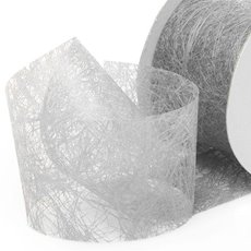 Nonwoven Floral Decor Ribbon - Nonwoven Ribbon Italian Spider Metallic Silver (40mmx20m)