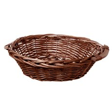 Hamper Tray & Gift Basket - Willow Bread Tray Round Dark Brown (42cmDx14cmH)