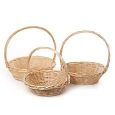 Willow Basket with Handle Round Set of 3 Natural (42x14cmH)