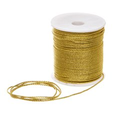 Cords - Braided Metallic Cord Non-Elastic Gold (1.5mmx100m)