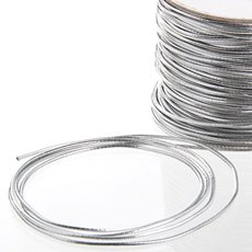 Cords - Metallic Elastic Cord Silver (1.5mmx100m)