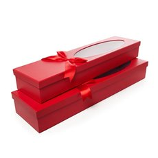 Window Oval Rose Box Dozen Red Set of 2 (76x21x11cmH)