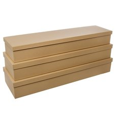 Premium Ribbed Rose Box Dozen Kraft Set of 3 (78x23x12cmH)