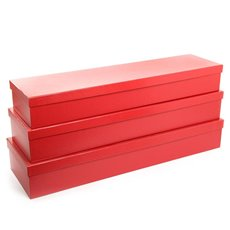Premium Ribbed Rose Box Dozen Red Set of 3 (78x23x12cmH)