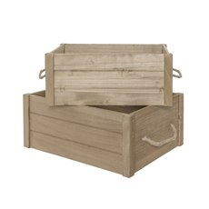 Wooden Crate Box Set of 2 Brown (41.5x31.5x18cmH)