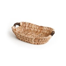 Hamper Tray & Gift Basket - Hyacinth Tray with Handles Oval Natural (35x26x9cmH)