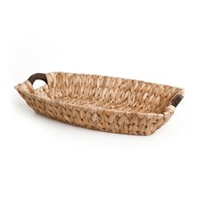 Hamper Tray & Gift Basket - Hyacinth Tray with Wooden Handles Boat Natural (45x30x9cmH)