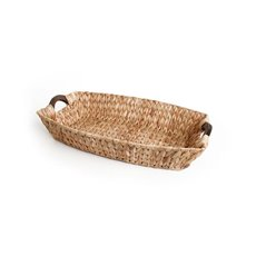 Hyacinth Tray with Wooden Handles Boat Natural (40x27x8cmH)