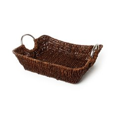 Seagrass Tray with Metal Handles Rectangle Brown(34x27x9cmH)