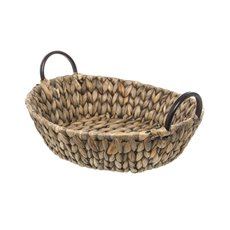 Hamper Tray & Gift Basket - Hyacinth Tray with Handles Round Copper (35x35x10cmH)
