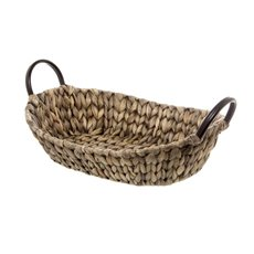 Hamper Tray & Gift Basket - Hyacinth Tray with Handles Oval Copper (35x26x9cmH)