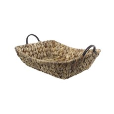 Hamper Tray & Gift Basket - Hyacinth Tray with Handles Rectangle Copper (37x30x10cmH)