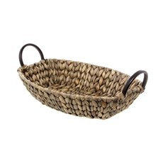 Hamper Tray & Gift Basket - Hyacinth Tray with Handles Boat Copper (35x25x8cmH)