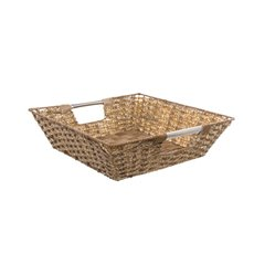 Artificial Wicker Tray Square Natural (35x35x10cmH)