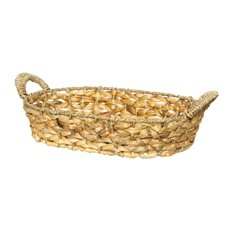 Hamper Tray & Gift Basket - Hyacinth Tray Carol Oval with Handle (38x28x8cmH) Natural