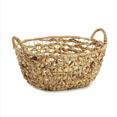 Baskets with Handles - Premium Rattan Large Oval Hamper (40x34x18cmH)