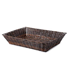 Hamper Tray & Gift Basket - Artificial Wicker Tray Rectangle XL Dark Brown (50x37x10cmH)