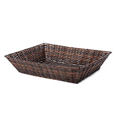 Hamper Tray & Gift Basket - Artificial Wicker Tray Rectangle L Dark Brown (43x34x10cmH)