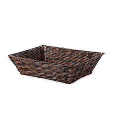 Hamper Tray & Gift Basket - Artificial Wicker Tray Rectangle M Dark Brown (37x28x10cmH)