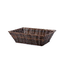 Hamper Tray & Gift Basket - Artificial Wicker Tray Rectangle S Dark Brown (33x24x10cmH)