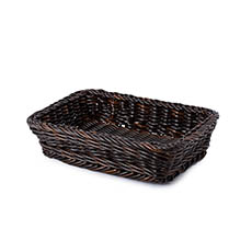 Hamper Tray & Gift Basket - Premium Wicker Hamper Tray Rect Dark Brown (39X27x9cmH)