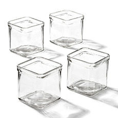 Glass Candle Tealight Holder Cube 7.5x7.5x7.5cmH Clear