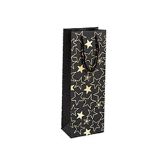 Wine Gift Bags - Wine Bag Single Bottle Pack5 Stars Black Gold (12.5x8x36cmH)