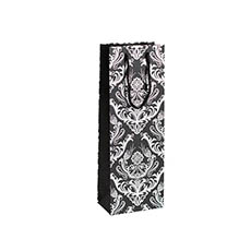 Pack Wine - Wine Gift Bags - Wine Bag Single Bottle Pack5 Damask BlkSilvr  (12.5x8x36cmH)