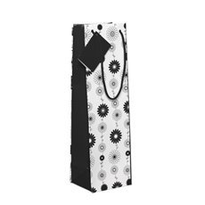 Wine Gift Bags - Wine Bottle Bag Single Gloss Floral Blk Wht(11X9X35cmH) Pk 5
