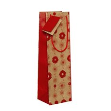 Wine Gift Bags - Wine Bottle Bag Single Kraft Floral Red (11X9X35cmH) Pack 5