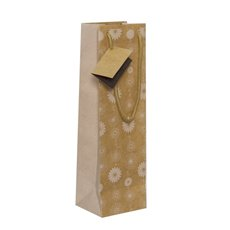 Wine Gift Bags - Wine Bottle Bag Single Kraft Floral White(11X9X35cmH) Pack 5