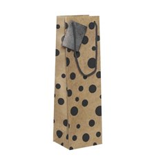 Wine Gift Bags - Wine Bottle Bag Single Kraft Dots Black (11X9X35cmH) Pack 5