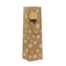 Wine Gift Bags - Wine Bottle Bag Single Kraft Dots White (11X9X35cmH) Pack 5