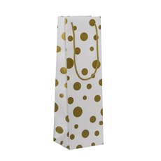 Wine Gift Bags - Wine Bottle Bag Single Gloss Dots Wht Gold(11X9X35cmH) Pk 5