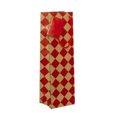 Wine Gift Bags - Wine Bottle Bag Single Kraft Checker Red (11X9X35cmH) Pack 5