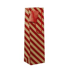 Wine Gift Bags - Wine Bottle Bag Single Kraft Stripe Red (11X9X35cmH) Pack 5