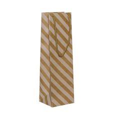 Wine Gift Bags - Wine Bottle Bag Single Kraft Stripe White(11X9X35cmH) Pack 5