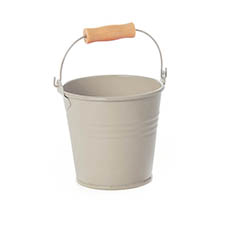 Tin Buckets Pail with Handle - Tin Bucket Bambino Light Grey (8Dx7cmH)