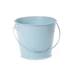 Tin Bucket with Handle Baby Blue (12.5Dx10.5cmH)